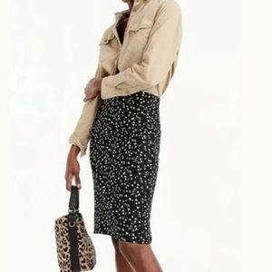 J. Crew Black Daisy Floral Stretch Skirt NWT 6